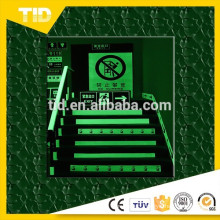 Fire safety signs, photo luminescent film