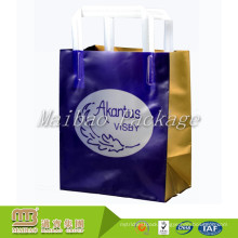 Factory Wholesale Custom Logo Printed Heat Seal Soft Loop Handle Square Base Plastic Bag