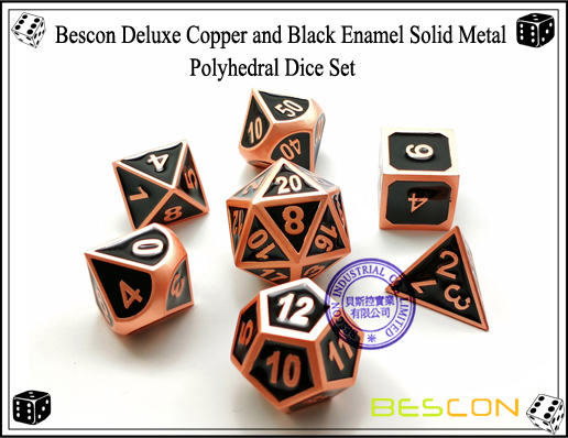 Bescon Deluxe Copper and Black Enamel Solid Metal Polyhedral Role Playing RPG Game Dice Set (7 Die in Pack)-2