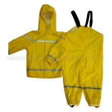 Yellow Solid Waterproof PU Raincoat