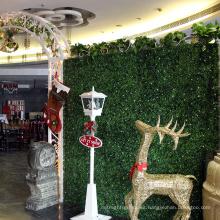 12 piezas 50 x 50 cm PE plástico interior de hoja perenne boj artificial seto para la tienda de decoración