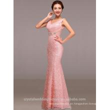 Alibaba Elegante largo nuevo diseñador tapa manga rosa color sirena vestidos de noche o vestido de dama de honor con perlas LE36
