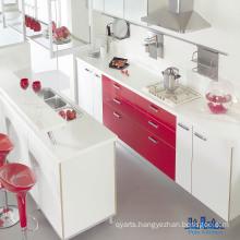 Brilliant Gloss White & Red UV Kitchen Cabinets