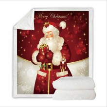 Super Soft Flannel Feelce Cover Blanket Bedding Set with Printing Father Christmas
