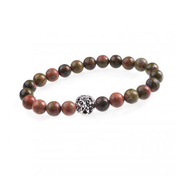 Unakite 8MM Bead Lion Head Gemstone Bracelet