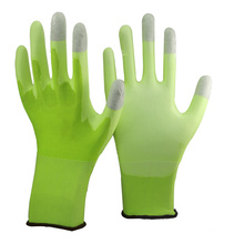 NMSAFETY 13 gauge knitted hi-viz green nylon liner coated white pu on palm and grey carbon on top three fingers ESD gloves
