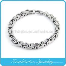Bracelet en acier inoxydable épais avec bracelet en argent Rolo Bracelet avec maillons en argent et bracelet en acier inoxydable 316L