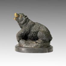 Animal Brass Statue Bear Carving Branze Sculpture Tpal-067