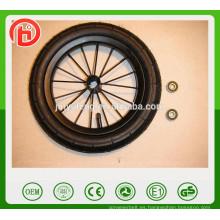 8/12/14 pulgadas de aleación de rueda de bicicleta de espuma de PU de acero al carbono, rueda de bicicleta neumática, ruedas de portador de bebé