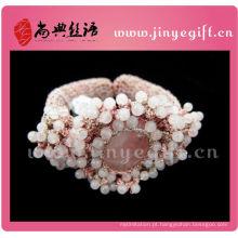 Moda jóias artesanal rosa crochet frisada gemstone menina pulseiras