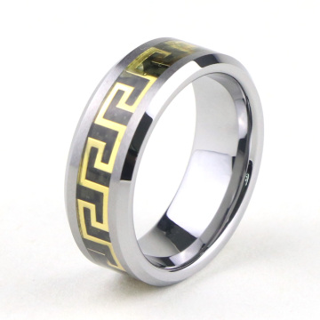 Hoogwaardige Tungsten Greek Key Wedding Rings