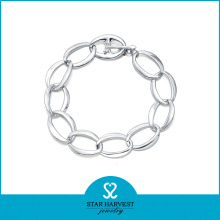 Wholesale Simple Rhodium Plated Sterling Silver Bracelet (SH-B0010)