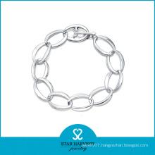 Wholesale Simple Rhodium Plated Sterling Silver Bracelet (SH-B0010)