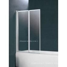 Écran de baignoire bifold en alliage d'aluminium deux (2 plis BS-75)