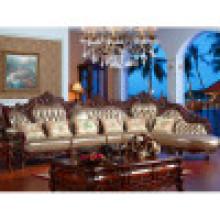Sofa en cuir de luxe d'Italie avec le cadre en bois de sofa (YF-D807)