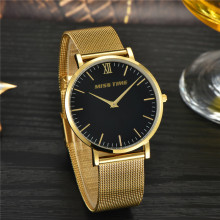 case back stainless steel goldlis band mesh quartz watch