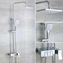 2020 Novo modelo Chromed / Black Square torneira banheira misturador chuveiro
