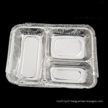 Environmentally friendly lunch box Disposable lunch box One-time packaging three-grid lunch box