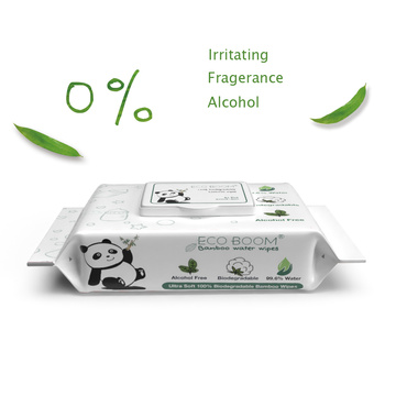 Lenços umedecidos orgânicos biodegradáveis 100% em fibra de bambu