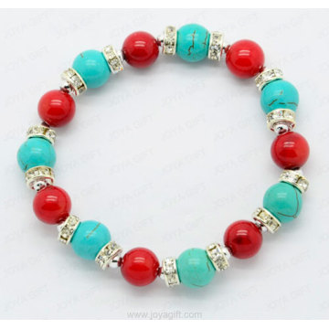 Red Coral Turquoise round beads bracelet