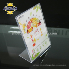 L shaped Acrylic Sign Display Stand , Clear Lucite Slant Back Sign Holders