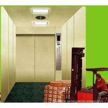 Elevador de carga para sala de máquinas com chapa de aço