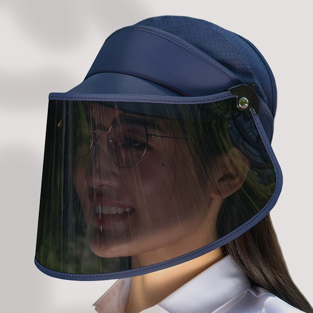 Large Brim Face Shield Fashion Sun Visor Cap Factory Wholesale Plastic Sun Visor Hat For Women Men Supplier Protective Hat Face Mask