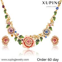 Moda de luxo 18k banhado a ouro flor imitação conjunto de jóias com strass (s-8)
