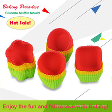 Hot Sale Candy Color Useful Home Tool Food Grade Muffin Baking Silicone Molds