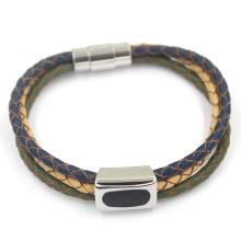 Три цвета Плетеные веревки кожа мужчин Магнитный браслет