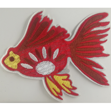 Mesin Embroidery Applique Patch Designs Goldfish Patch