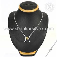 Girls accessories citrine gemstone silver jewelry 925 sterling silver handmade necklace jewellery wholesaler