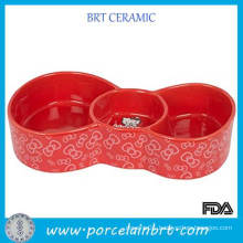 Butterfly Shape Pet Printed Bowl with 2 Separation Grid