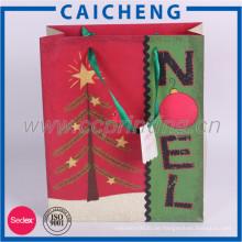 Weihnachts benutzerdefinierte Kraftpapier Geschenktüte mit Druck-Logo