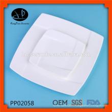 Vaisselle de porcelaine de luxe, plus satinée et plus blanche, assiettes de porcelaine blanche à usage quotidien pour hôtel