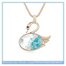 2014 moda 18k ouro miss cisne forma colar de cristal colar com cilindro de vidro