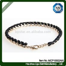 Ladies Black Real Braided Leather Bracelet
