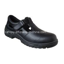 Chaussures de sécurité en cuir lisse brillant avec Mesh doublure (HQ01031)