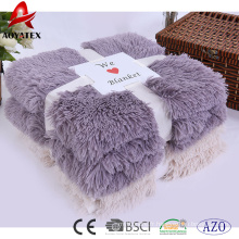 100% polyester promotion solide à long pile fausse fourrure hiver couvertures