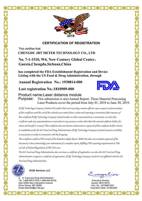 Fda Certificate For Tof Laser Distance Sensor