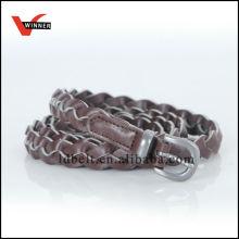 2014 Cinturones de costura de piel de PU de color nuevo chocolate