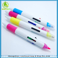 Plastic promotional multi 4 color ball pen with highlighter