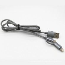 2 em 1 cabo de carga de dados USB Nylon tecido