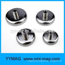 Pot magnet neodymium with internal screw thread