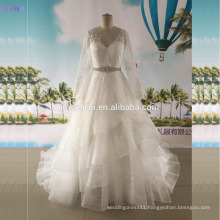 Long Sleeves Wedding Dresses Floor Length Sweetheart Lace Borders With Beaded Sash Ball Gown Bridal Gown
