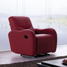 Multi-function Recliner Headrest Single Red Leather Sofa