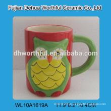 Coruja popular em forma de caneca de café cerâmica, caneca de chá de cerâmica para atacado