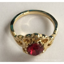 Gold Plated Ring with Red Gem