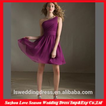 HC 4282 The Whole Sale A Line Sleeveless Purple One Shoulder Dresses For Chubby