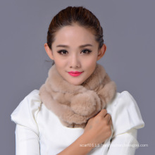 Lady Fashion Rex Rabbit Fur Winter Scarf (YKY4361)